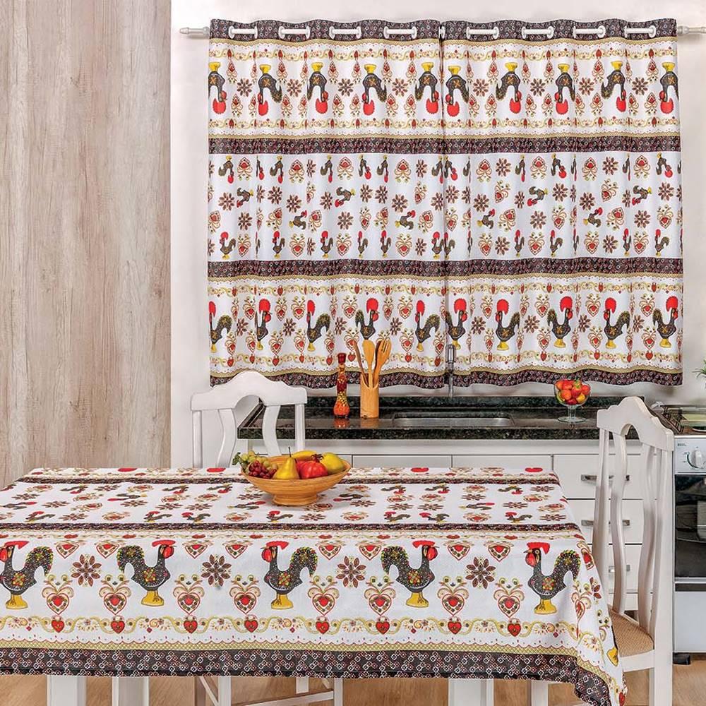 Toalha de Mesa 2,50m x 1,40m + Cortina 2m Estampadas 2 peças - Galo