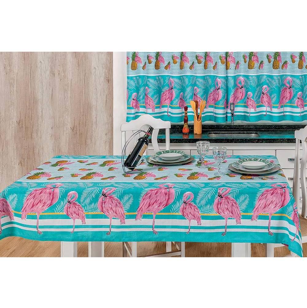 Toalha de Mesa 2,50m x 1,40m Estampada 1 peça - Flamingo