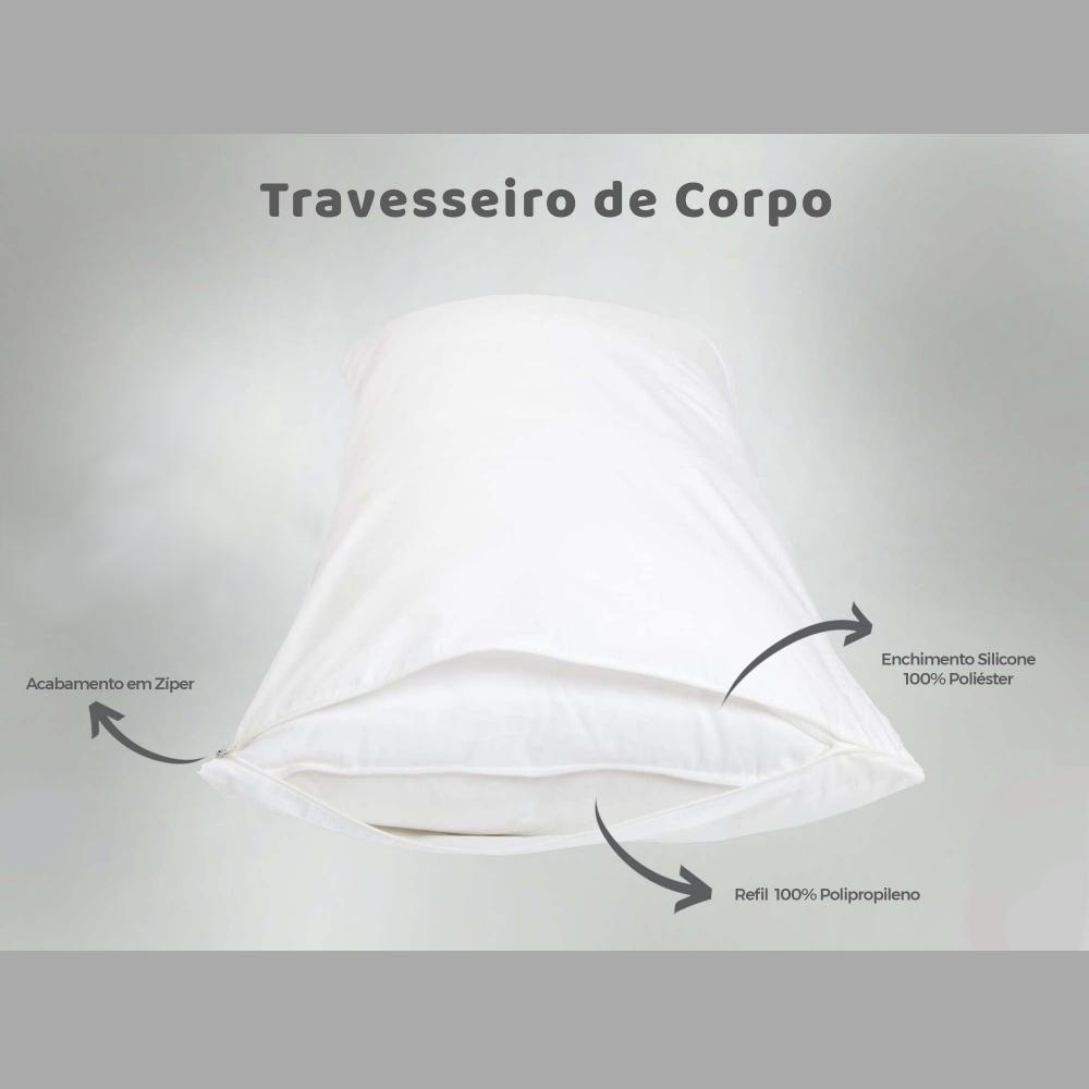 Travesseiro de Corpo Aconchego Estampado 90cm x 38cm - Inspira