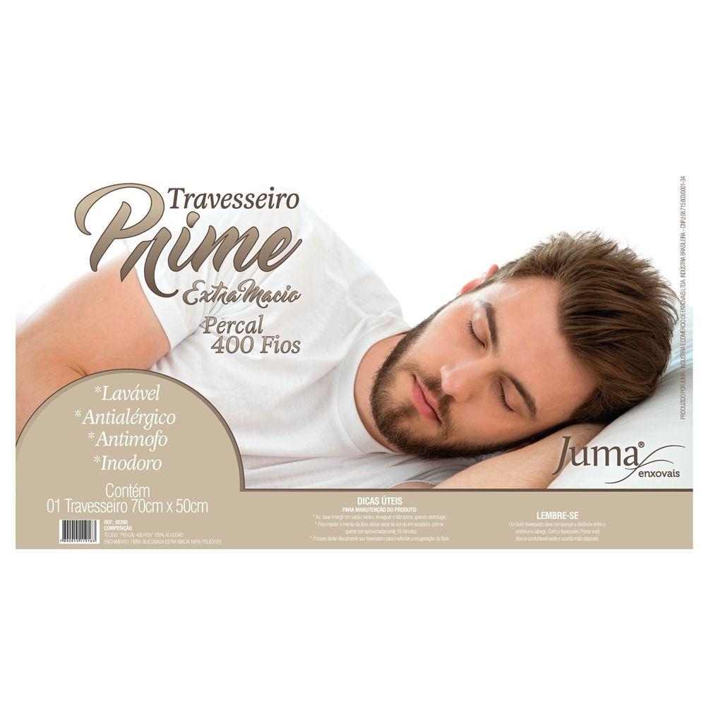 Travesseiro Fibra Siliconada Algodão 400 fios Prime - 1 Peça