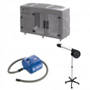 Kit Pet Shop Máquina de Secar + Secador 5000 Cinza e Soprador Revolution Azul Kyklon
