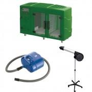 Kit Pet Shop Máquina de Secar Verde + Secador 5000 Black e Soprador Revolution Azul Kyklon