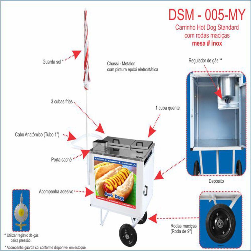 Carrinho de Hot Dog Armon com Rodas Maciças Dsm 005 my
