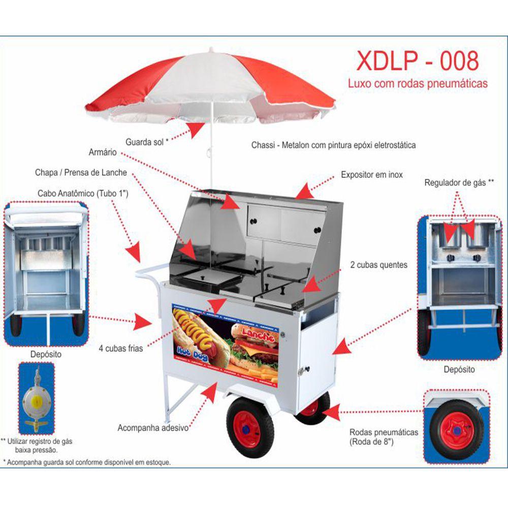 Carrinho de Hot Dog Armon Luxo com Rodas Pneumáticas XDLP-008