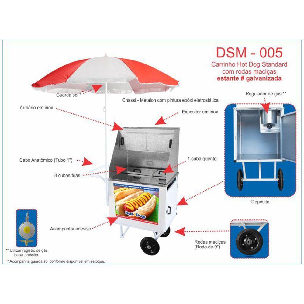Carrinho Hot Dog com Protetor de Vento Armon DSM-005