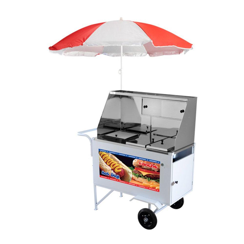 Carrinho de Hot Dog e Lanches Com 2 Molheiras Quentes e 4 Cubas Frias Xdlm 007