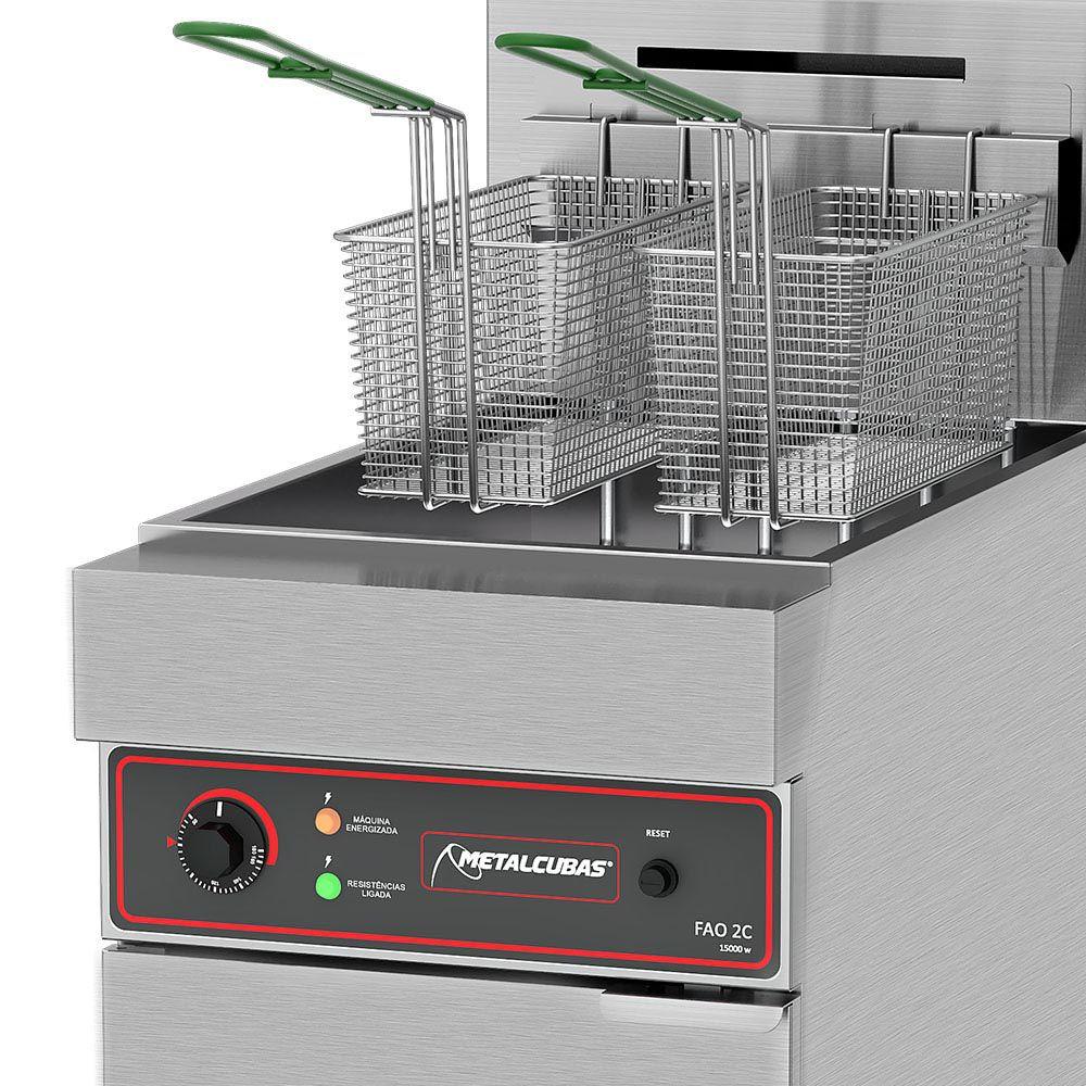 Fritadeira Elétrica Água e Óleo Metalcubas 30 Litros FAO2C 380V Trifásico