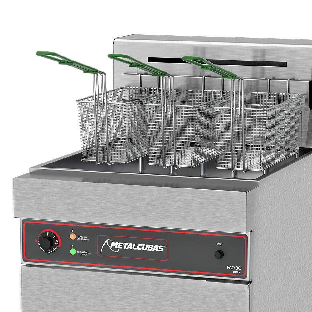 Fritadeira Elétrica Água e Óleo Metalcubas 44 Litros FAO3C 220V Trifásico