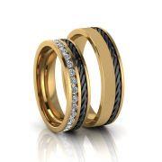 Aliança de Casamento Gaia Ródio Negro