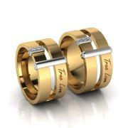 Alianças de Casamento Perséfone em ouro 18k, com diamantes, largura de 10 mm