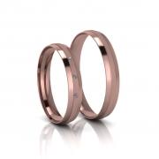 Alianças de Casamento Áurea Rosé Slim em ouro 18k, com diamantes, largura de 3,5mm