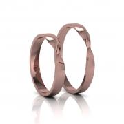 Alianças de Casamento Horas Rosé Slim em ouro 18K, com diamantes, largura de 3mm