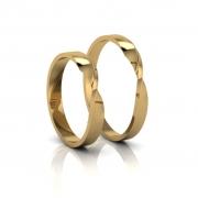 Alianças de Casamento Horas Slim em ouro 18K, com diamantes, largura de 3mm