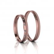 Alianças de Casamento Penélope Rosé Slim em ouro 18k,com diamantes, largura de 3mm