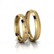 Alianças de Casamento Áurea Slim em ouro 18k, com diamantes, largura de 4 mm