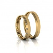 Alianças de Casamento Penélope Slim em ouro 18k,com diamantes, largura de 4 mm