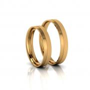 Alianças de Casamento Táurica Slim em ouro 18k, largura de 4 mm