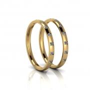 Aparadores de Aliança em ouro 18k, com diamantes e largura de 2mm