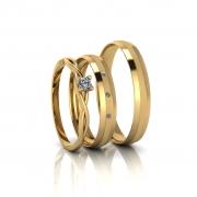 Combo alianças Aurea Slim e Anel de Diamante em Ouro 18K