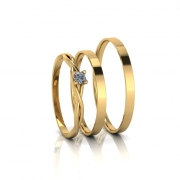 Combo alianças Cintia Slim e Anel de Diamante em Ouro 18K