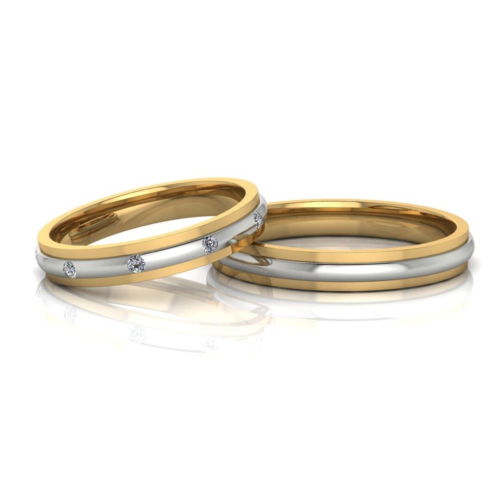 Alianças de Casamento Febe em ouro 18k, com diamantes, largura de 3 mm