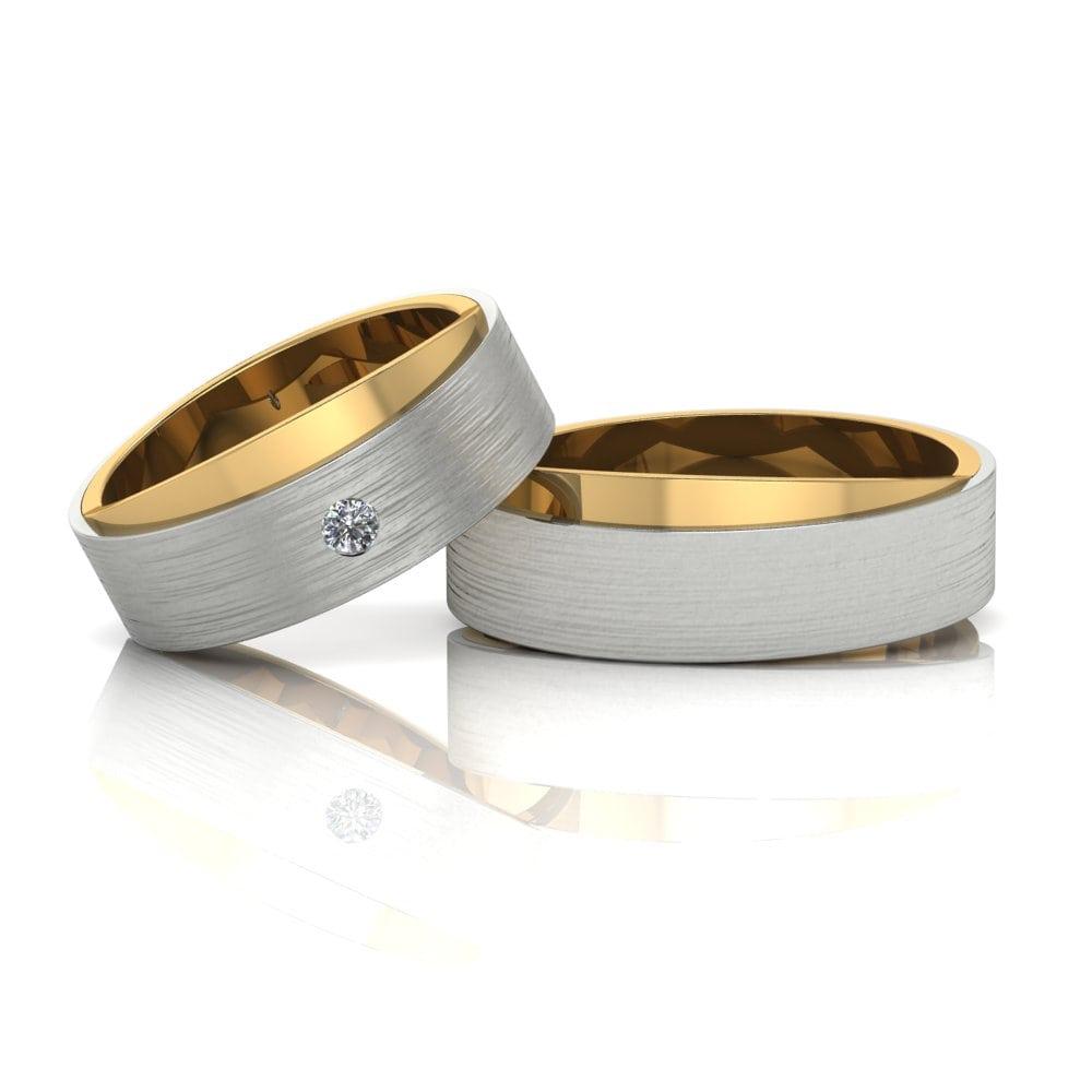 Alianças de Casamento Afrodite em ouro 18k, com diamante, largura de 7 mm