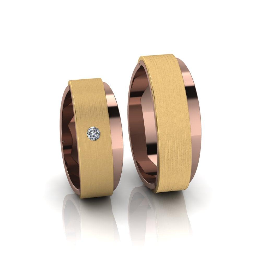 Alianças de Casamento Afrodite em ouro rosé 18k, com diamante, largura de 7 mm