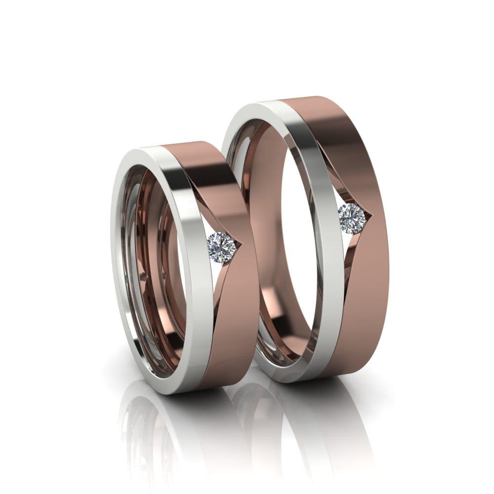Alianças de Casamento Tique em ouro branco e rosé 18k, com diamantes, largura de 5,3 mm