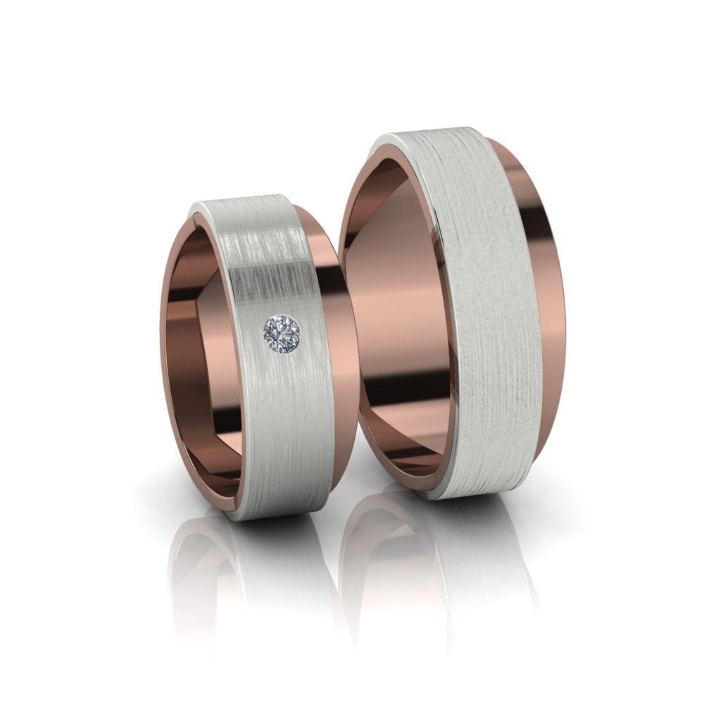 Alianças de Casamento Afrodite em ouro rosé e branco 18k, com diamante, largura de 7 mm