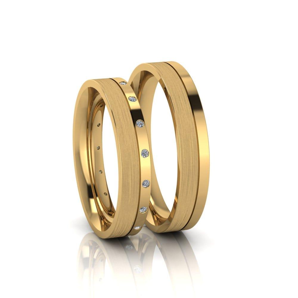 Alianças de Casamento Ártemis em ouro 18k, com diamantes