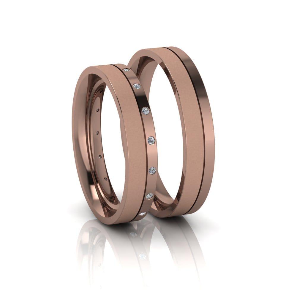 Alianças de Casamento Ártemis em ouro rosé 18k, com diamantes