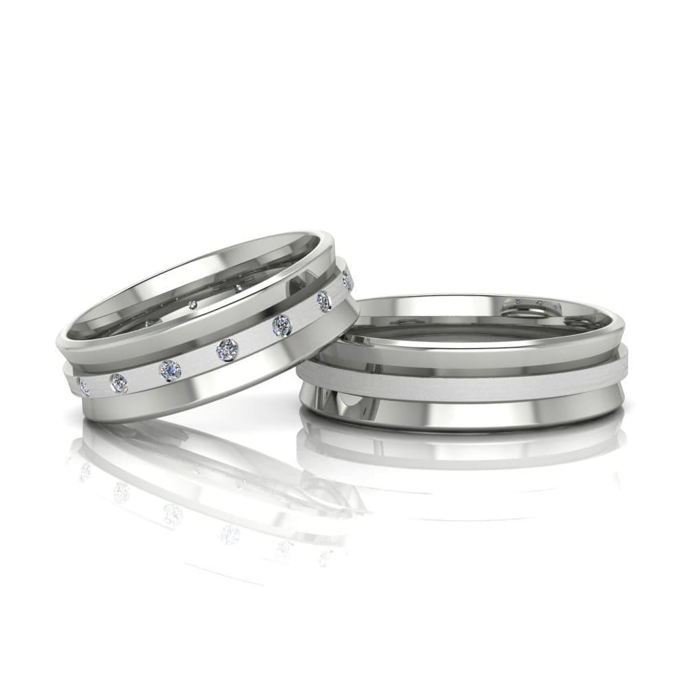 Alianças de Casamento Atena em ouro branco 18k, com diamantes, largura de 6 mm