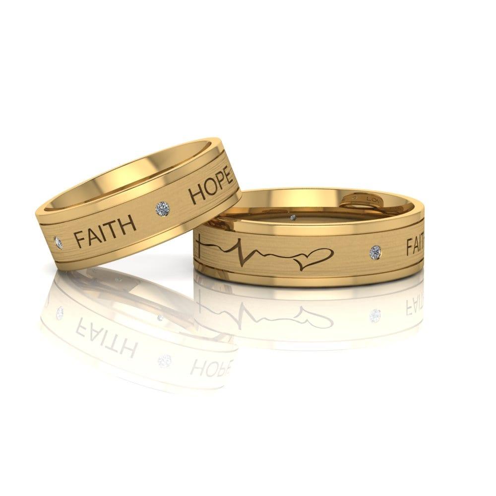 Alianças de Casamento Élpis em ouro 18k, com diamantes, largura de 6 mm