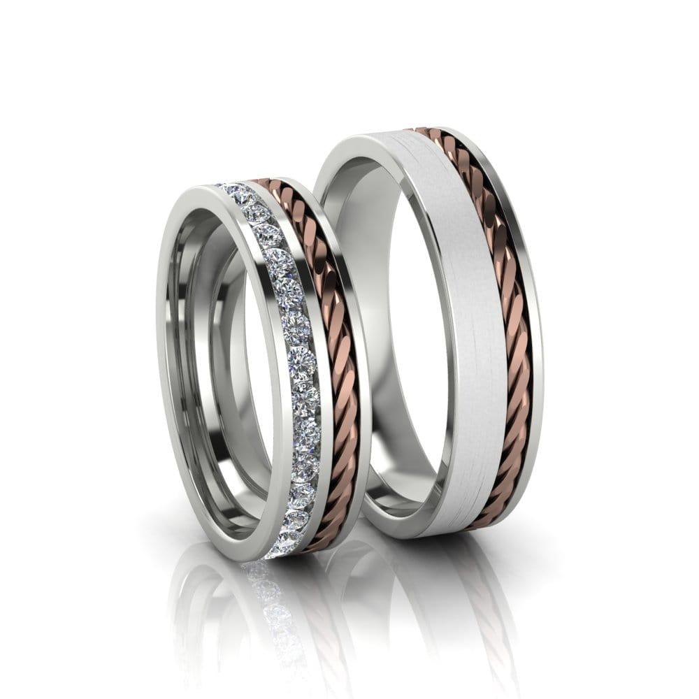 Aliança de Casamento Gaia Branco Detalhe Rosé