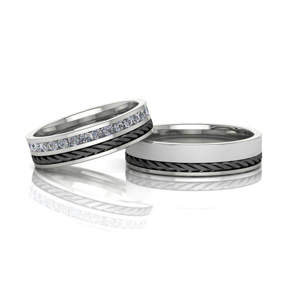 Alianças de Casamento Gaia em ouro branco 18k, com diamantes, largura de 5 mm