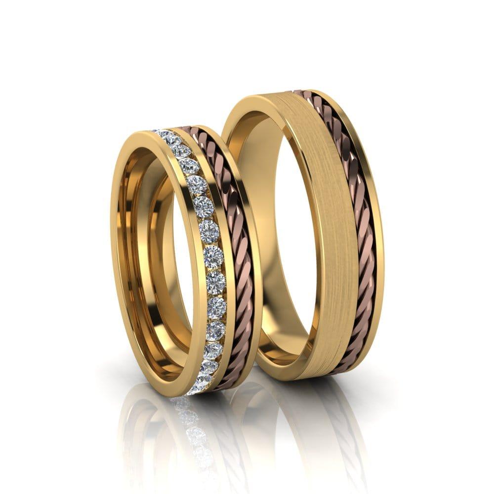 Alianças de Casamento Gaia em ouro 18k, com diamantes, largura de 5 mm