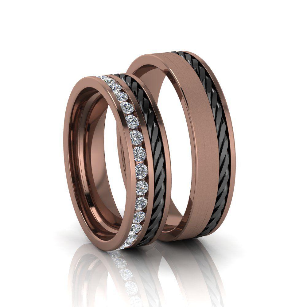 Alianças de Casamento Gaia em ouro rosé 18k, com diamantes, largura de 5 mm