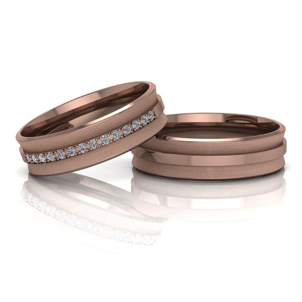 Alianças de Casamento Hemera em ouro rosé 18k, com diamantes, largura de 6 mm