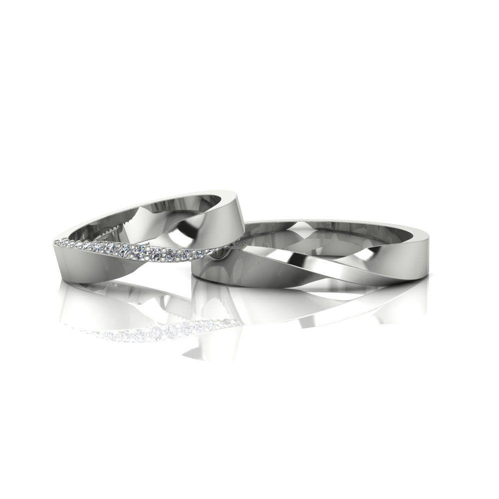 Alianças de Casamento Horas em ouro branco 18K, com diamantes, largura de 3,6 mm