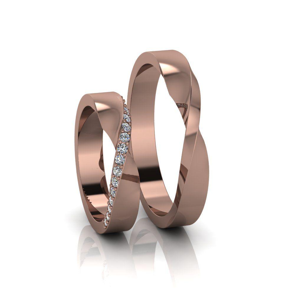 Alianças de Casamento Horas em ouro rosé 18K, com diamantes, largura de 3,6 mm