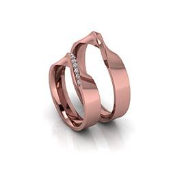 Alianças de Casamento Horas Personalizada em ouro 18K, com diamantes, largura de 4,5 mm