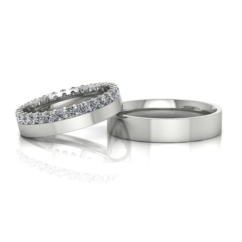 Alianças de Casamento Nix em ouro branco 18k, com diamantes, largura de 4,5 mm