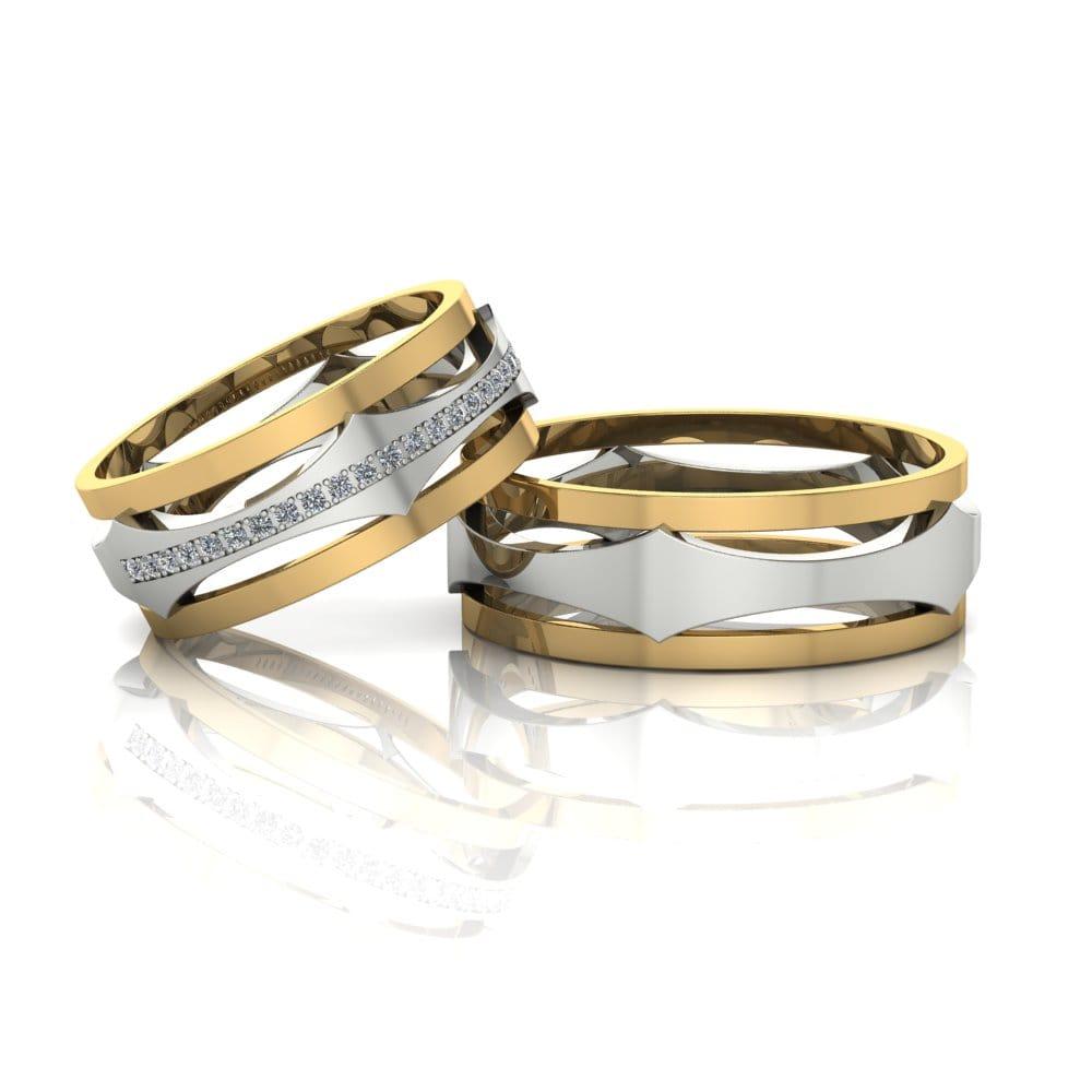 Alianças de Casamento Selene em ouro 18k, com diamantes, largura de 7,3 mm
