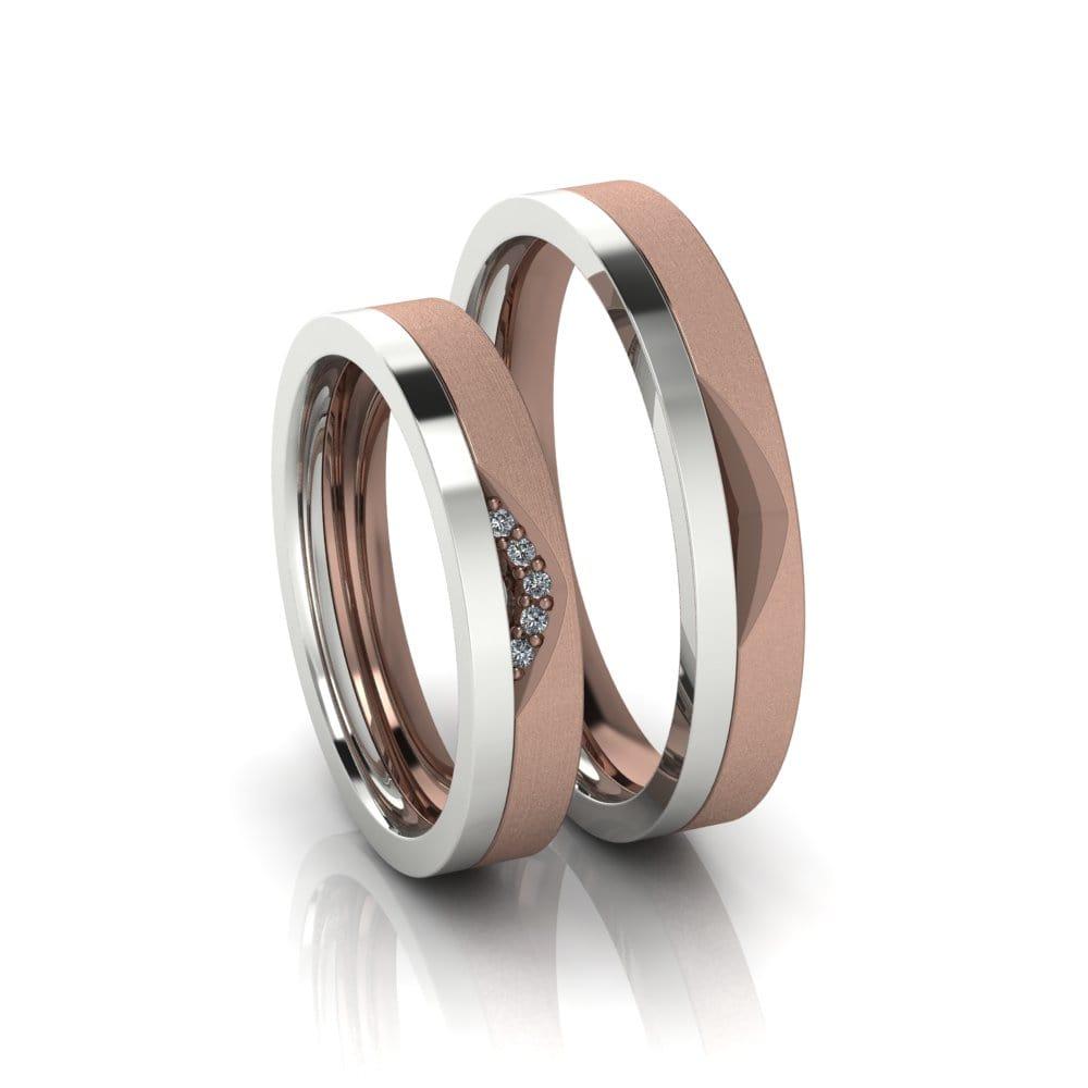 Alianças de Casamento Téia em ouro rosé 18k, com diamantes, largura de 4 mm