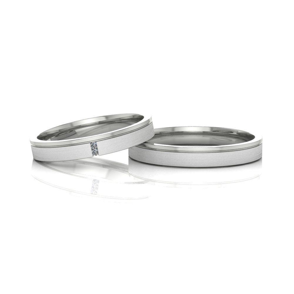 Alianças de Casamento Têmis em ouro branco 18k, com diamantes, largura de 3 mm