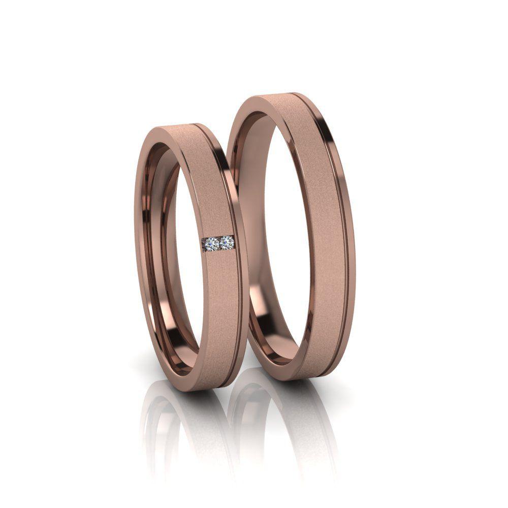 Alianças de Casamento Têmis em ouro rosé 18k, com diamantes, largura de 3 mm