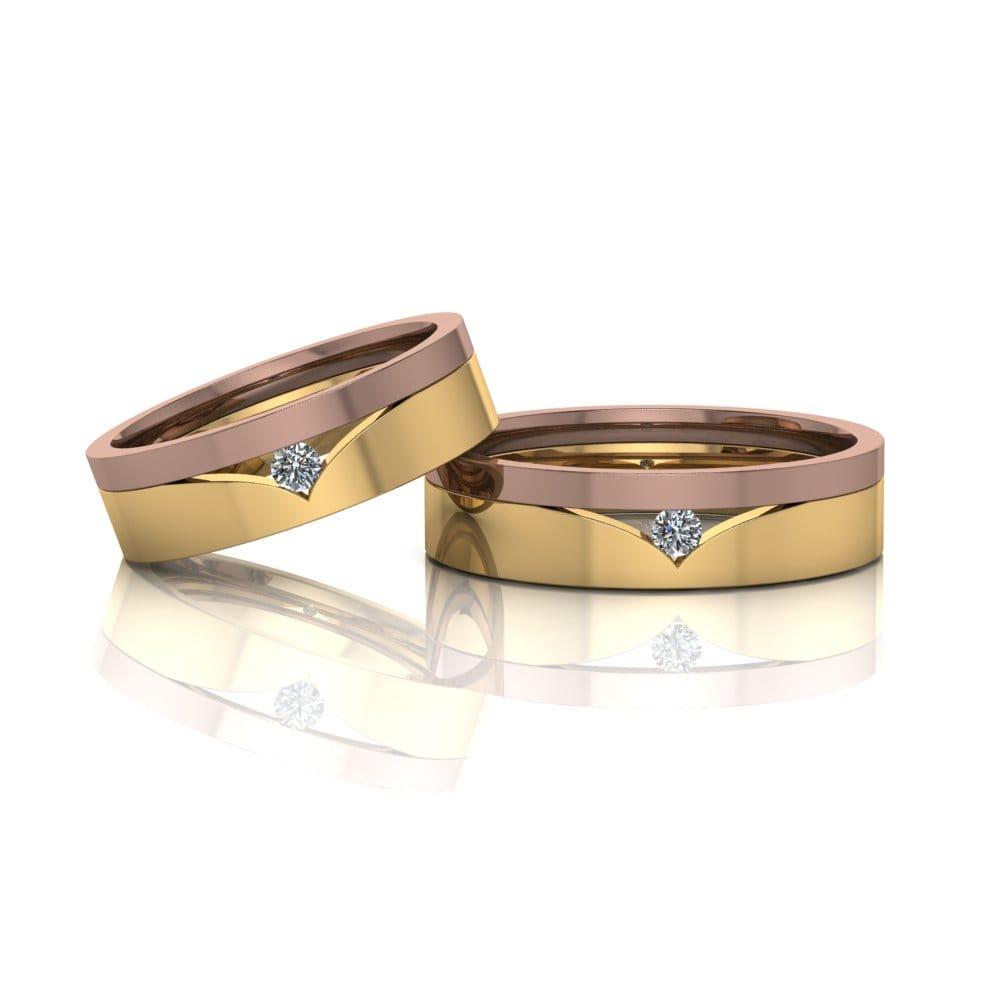 Alianças de Casamento Tique em ouro 18k, com diamantes, largura de 5,3 mm