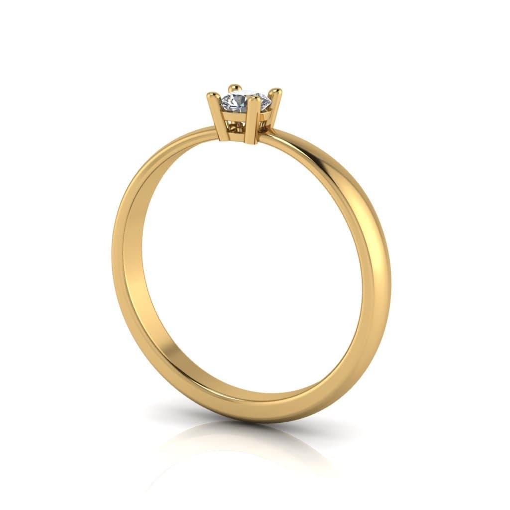 Anel de Noivado Hélios em ouro 18k, com diamante, largura de 2,3 mm