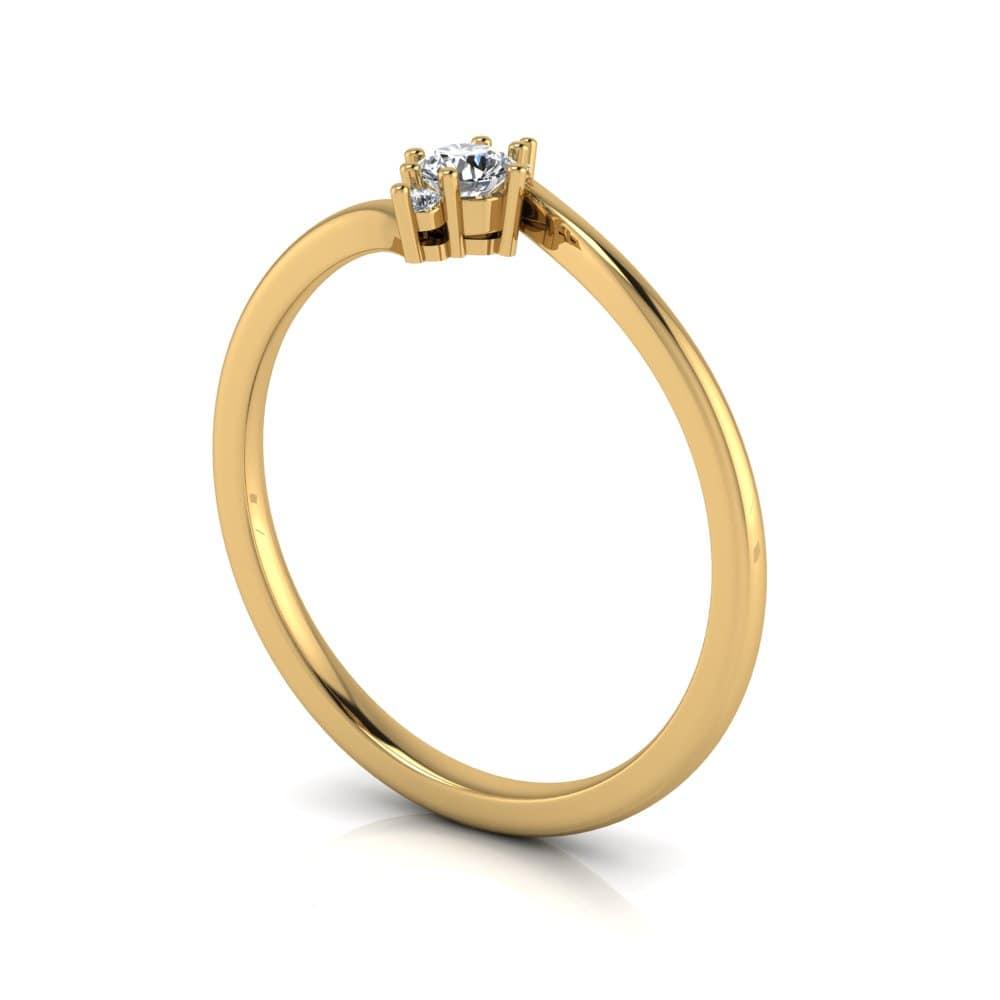 Anel de Noivado Hermes em ouro 18k, com diamantes, largura de 1,6 mm