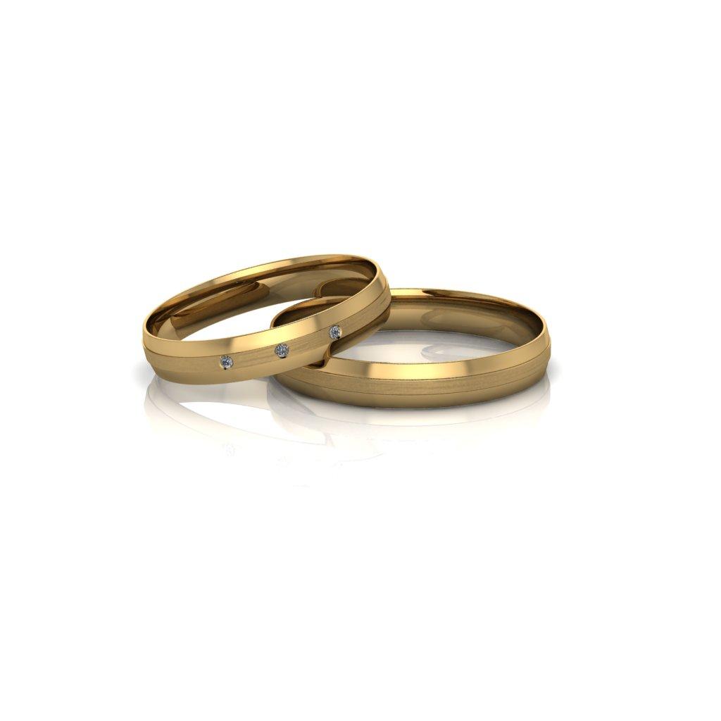 Alianças de Casamento Áurea Slim em ouro 18k, com diamantes, largura de 3,5mm